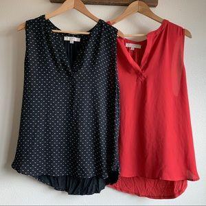 LOFT — split neck mixed media blouse *SET OF 2*